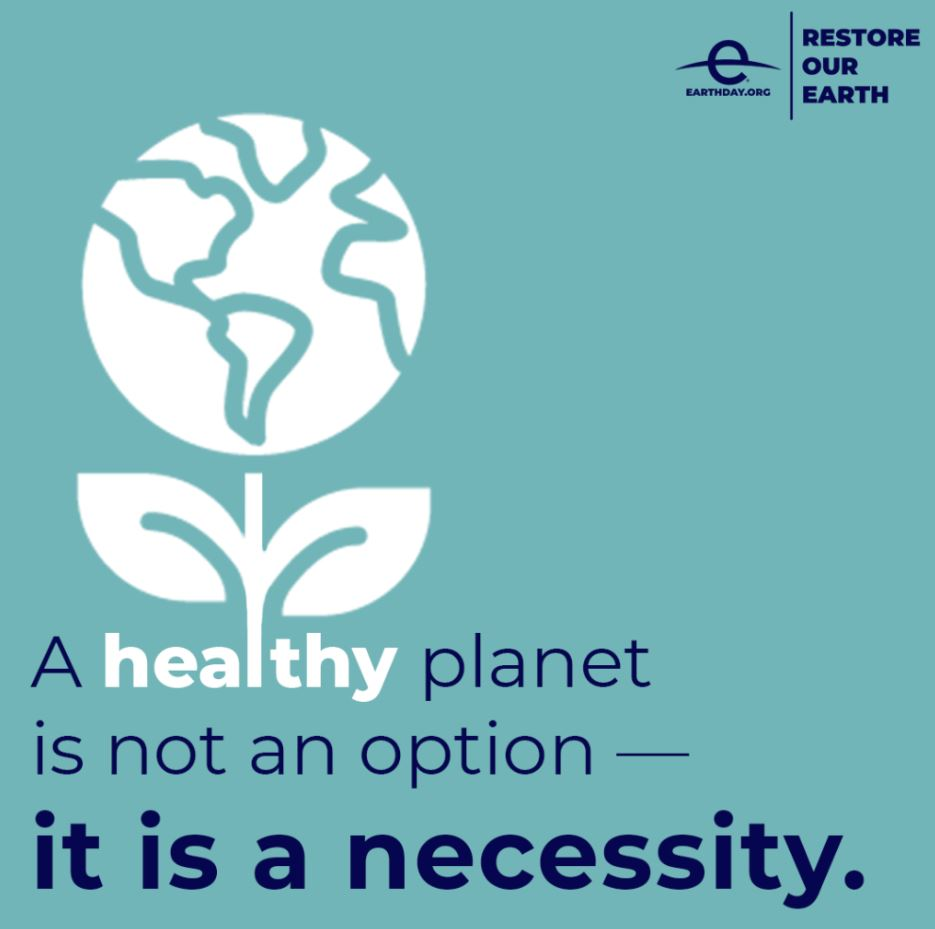 earthday logo, A healthy planet is not an option, it is a necessity