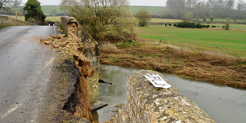 Damage to Ketton bridge