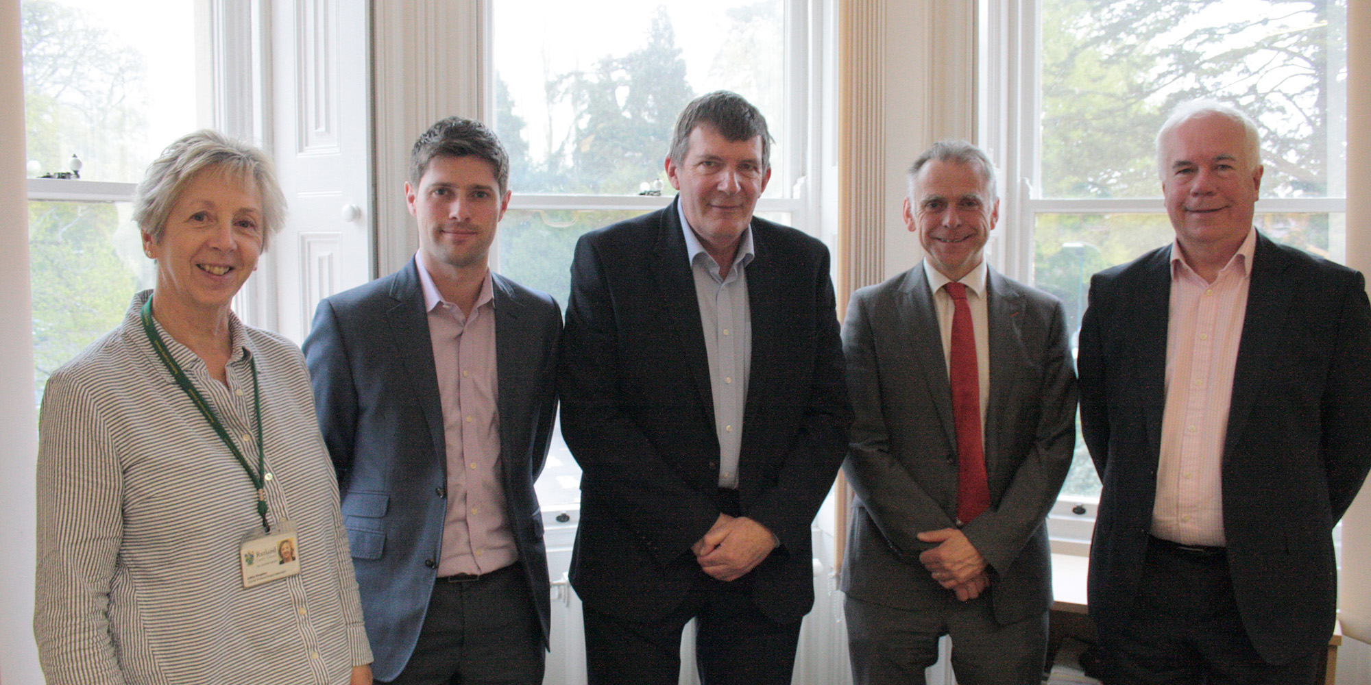 Council Leader Oliver Hemsley with representatives from EE and BT